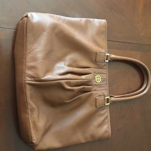 Authentic Large Tory Burch Handbag brown leather